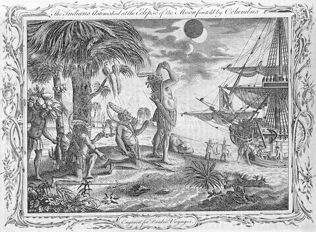 Detail of Christopher Columbus's voyage. The Indians astonished at the Eclipse of the Moon foretold by Columbus. Engraved for Drake's Voyages. by unknown