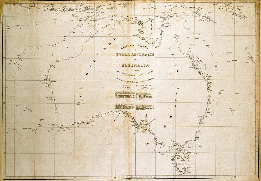 Detail of Chart of Terra Australis (Australia) by unknown
