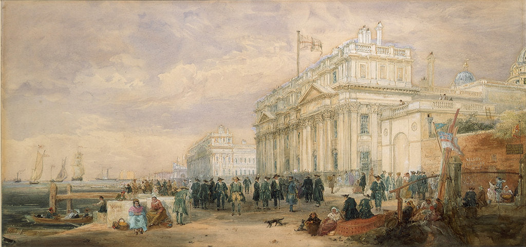 Detail of Greenwich Hospital, showing buildings and Greenwich pensioners by James Holland