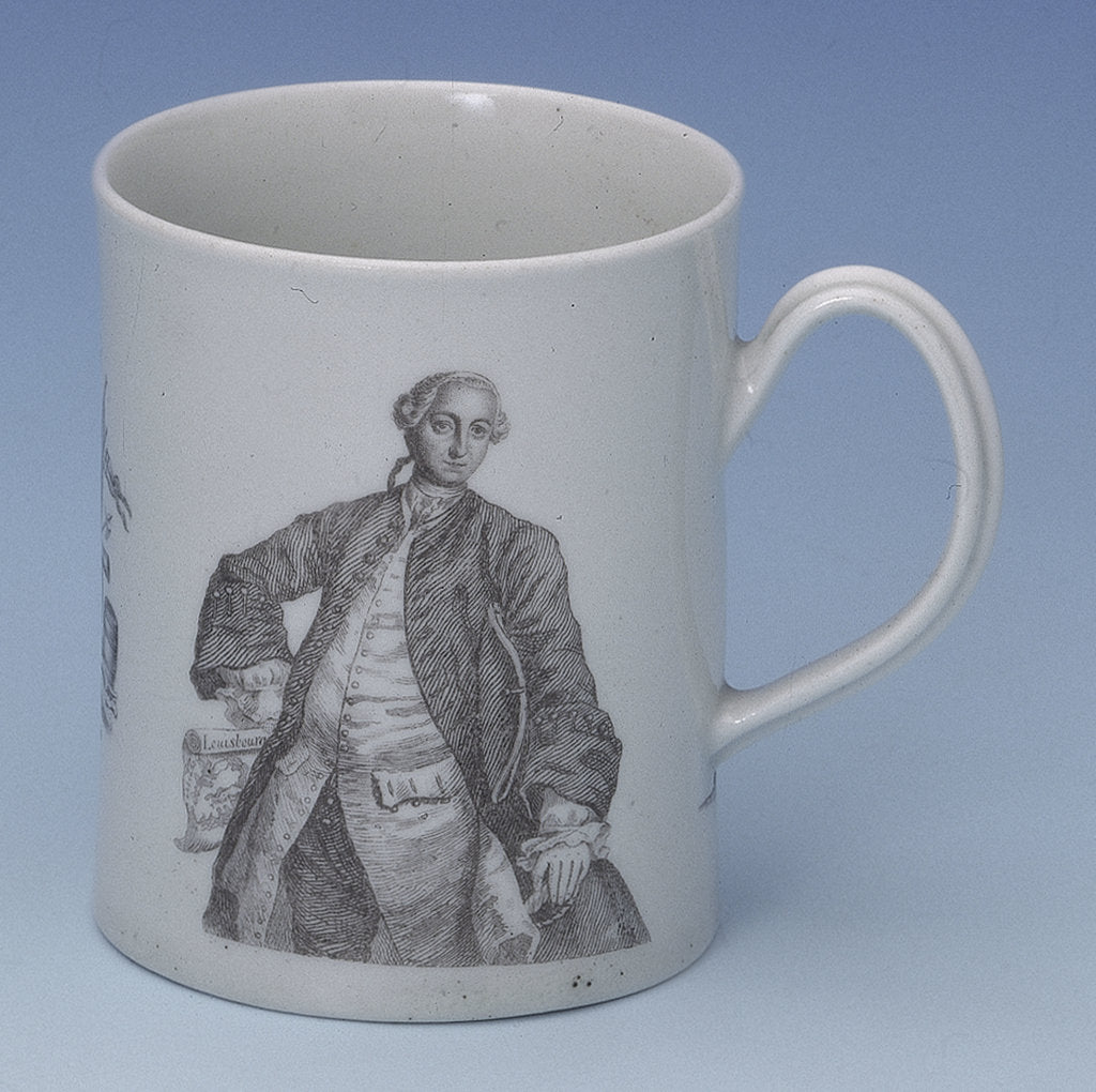 Detail of Worcester mug of Admiral Edward Boscawen by John Wall