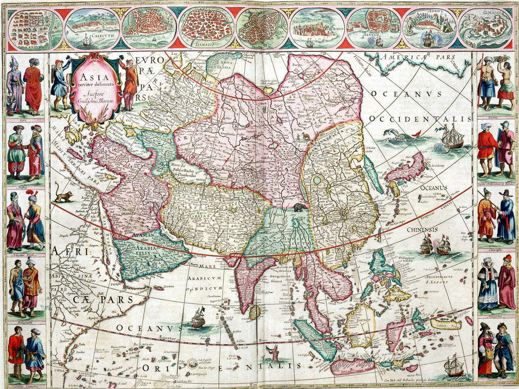 Detail of Map of Asia from the Bleau Atlas, 1662-65 by unknown