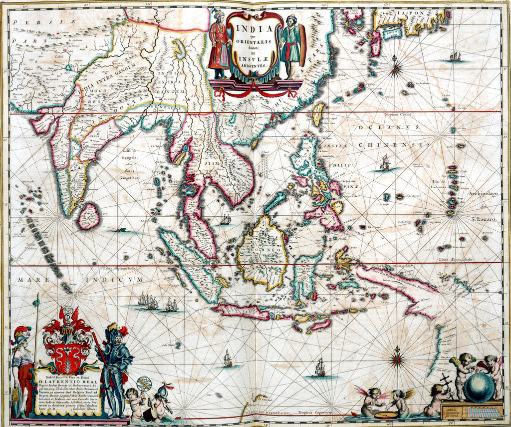Detail of Map of Asia from the Blaeu Atlas, 1662-1665 by unknown