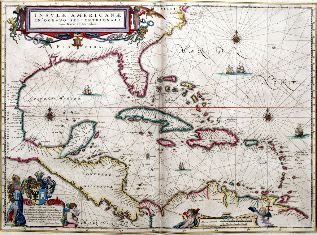 Detail of Gulf of Mexico and the Caribbean, from Blaeu's 'Atlas of the Americas' by John Blaeu