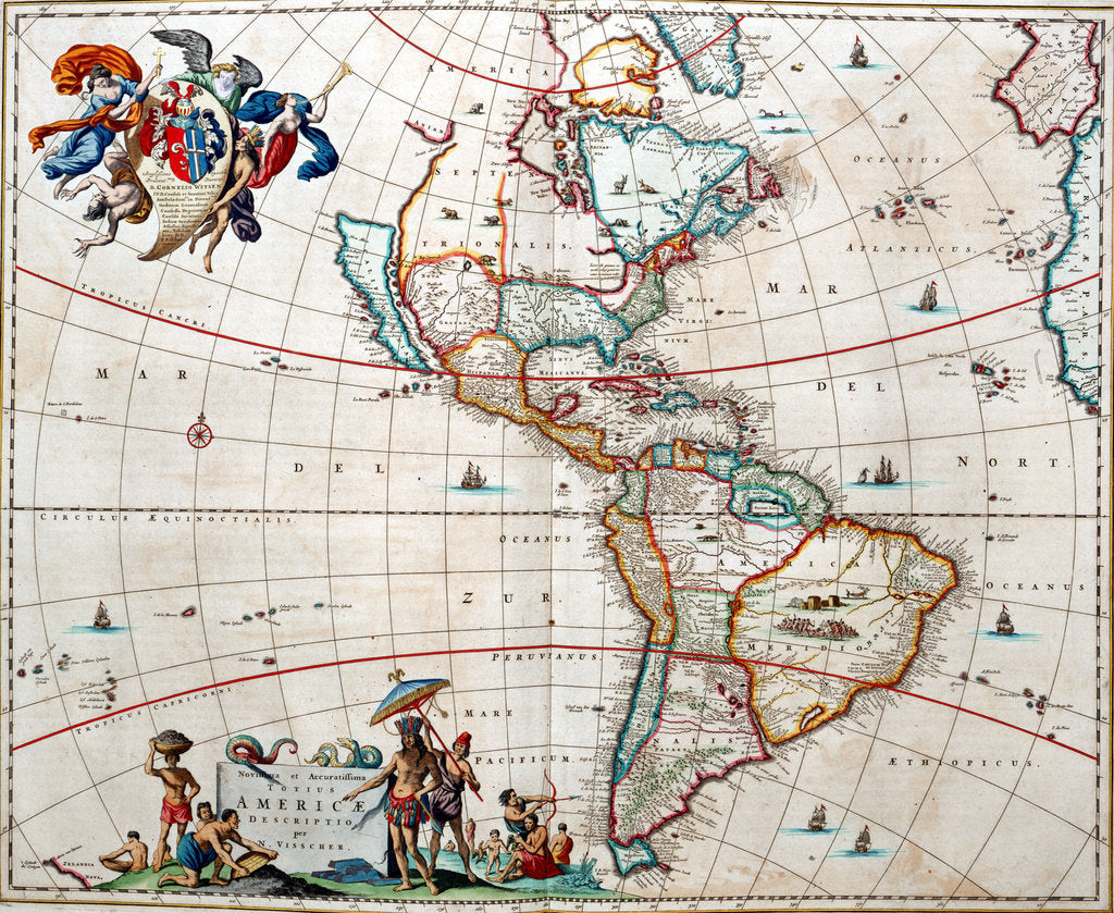 Detail of Sheet from Bleau's 'Atlas of the Americas' by John Blaeu