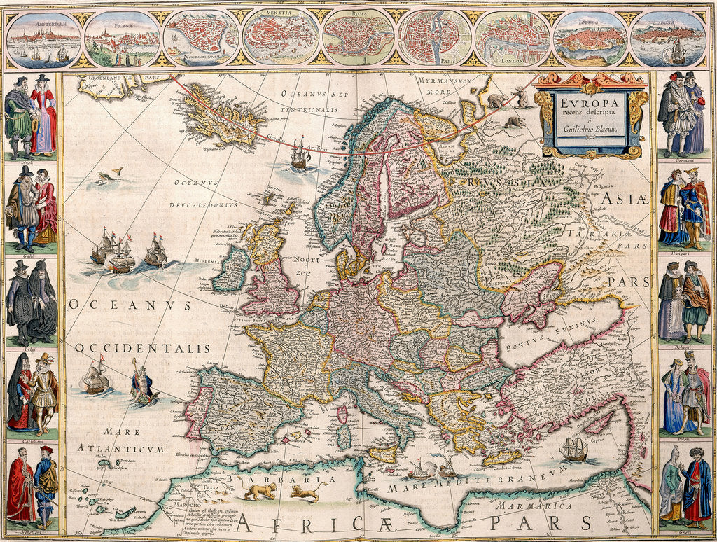 Detail of Map of Europe from the Blaeu Atlas, 17th century by John Blaeu