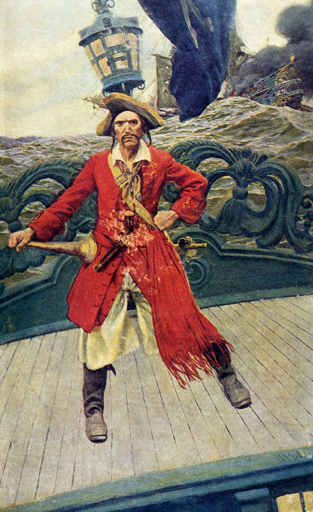 Detail of Pirate captain on deck by Howard Pyle