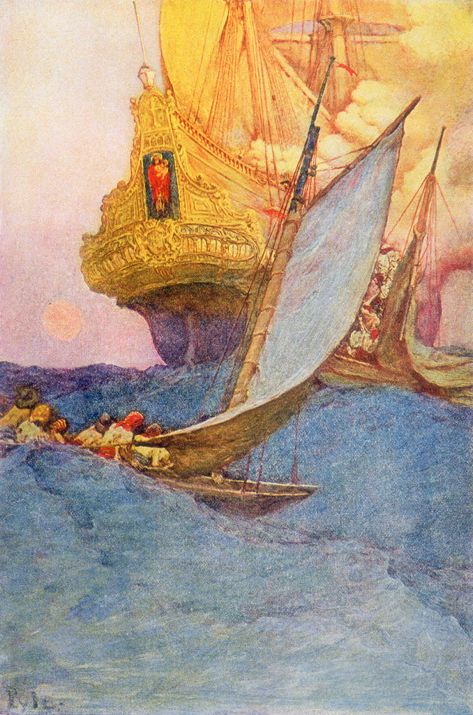 Detail of Pirates approach a treasure ship by Howard Pyle