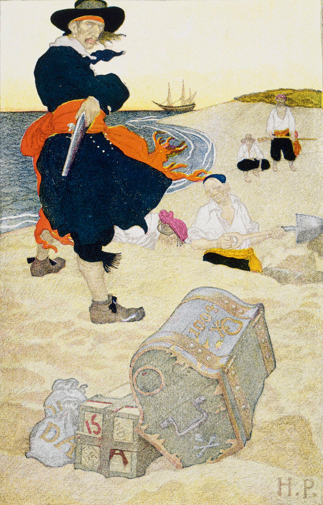 Detail of Pirate William Kidd buries treasure on Gardiner's Island by Howard Pyle