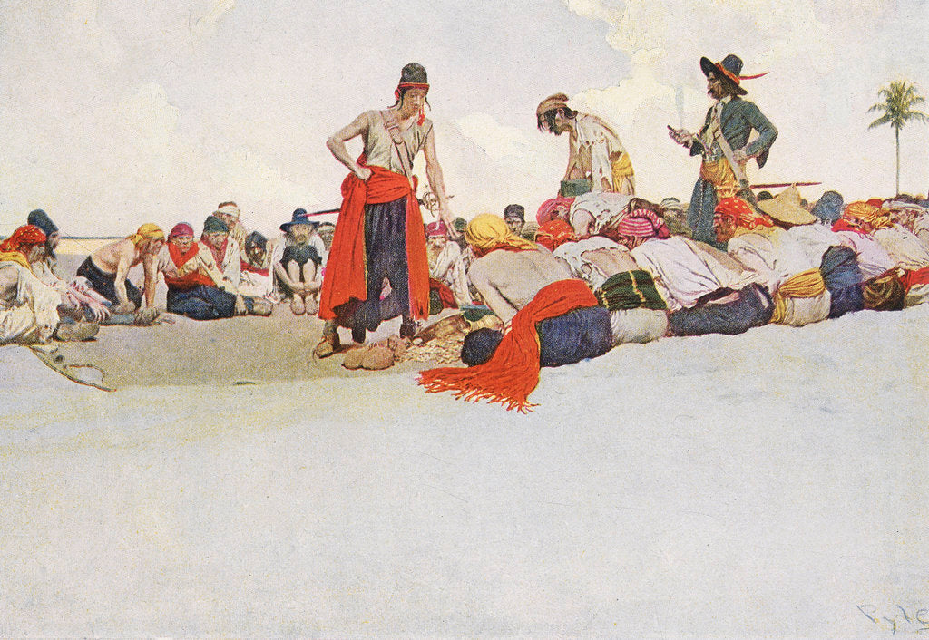 Detail of Pirates share out their spoils by Howard Pyle