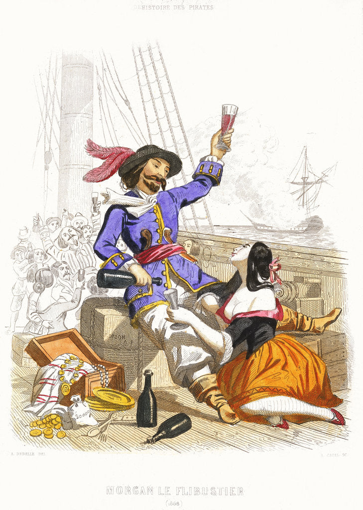 Detail of Captain Henry Morgan carouses with wine and women, in true pirate fashion by A. Catel