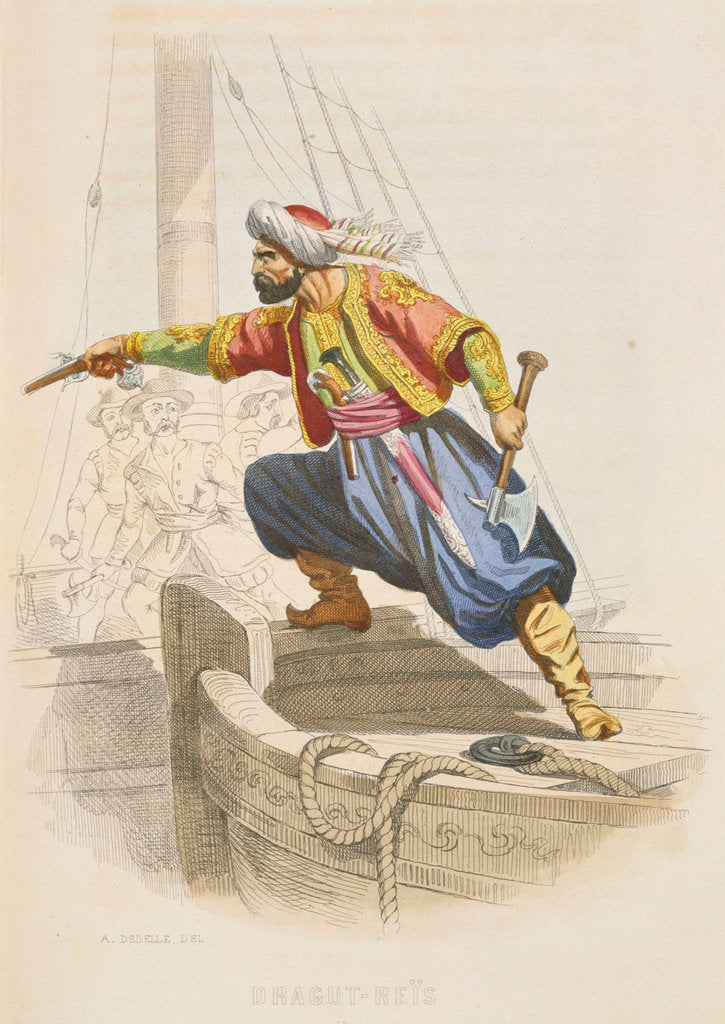 Detail of Dragut Reis, the famous Barbary corsair, prepares to board an enemy vessel in search of loot by A. Catel