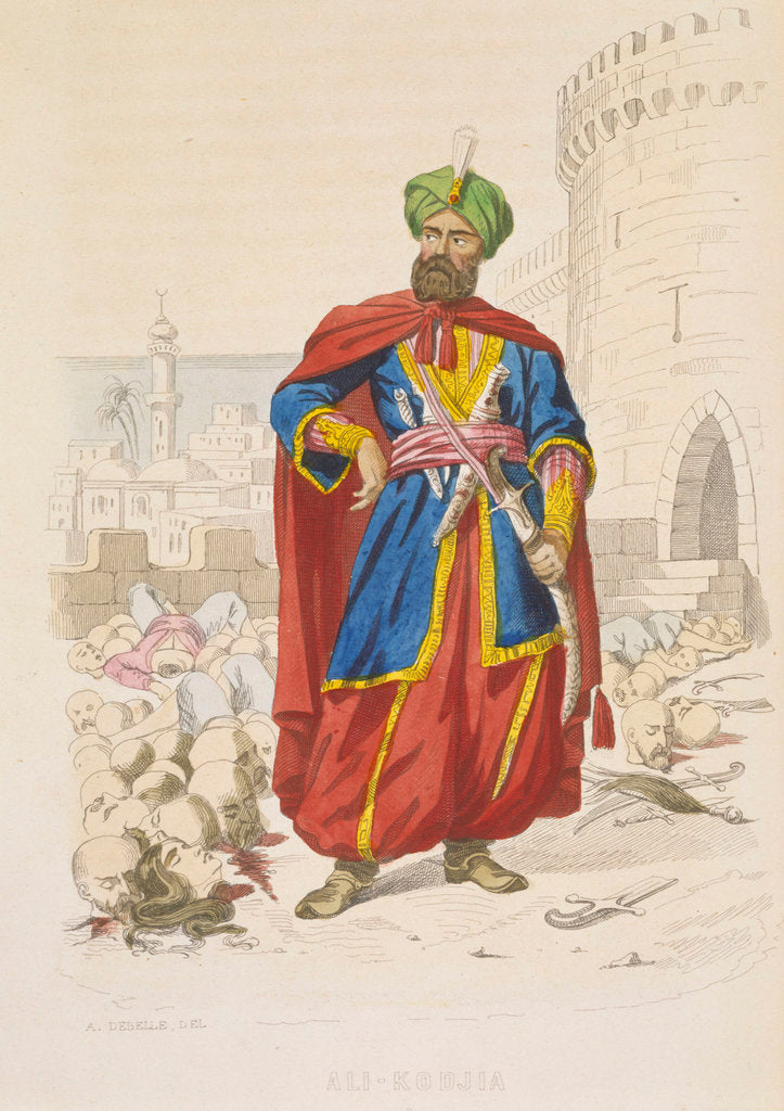 Detail of Ali Khoja, ruler of Algiers 1816-1818, resplendent in a green turban and wearing a fine sword, is surrounding by the severed heads of vanquished enemies after the bombardment of 1816 by A. Catel