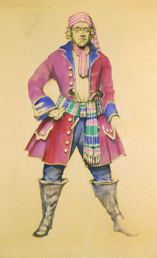 Detail of Costume design for the Gilbert & Sullivan comic opera 'Pirates of Penzance' by unknown