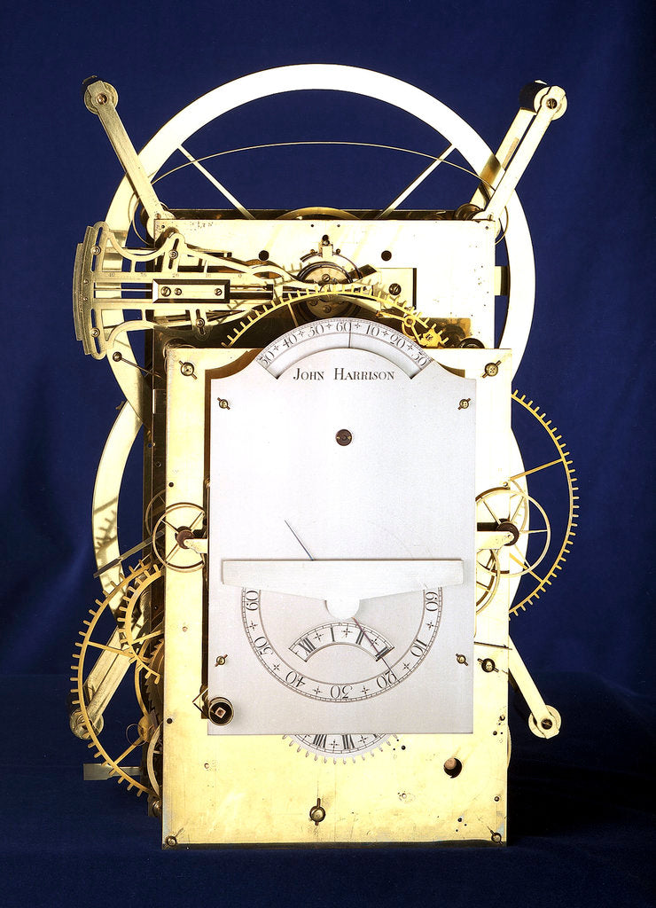 Detail of Marine timekeeper H3, front by John Harrison