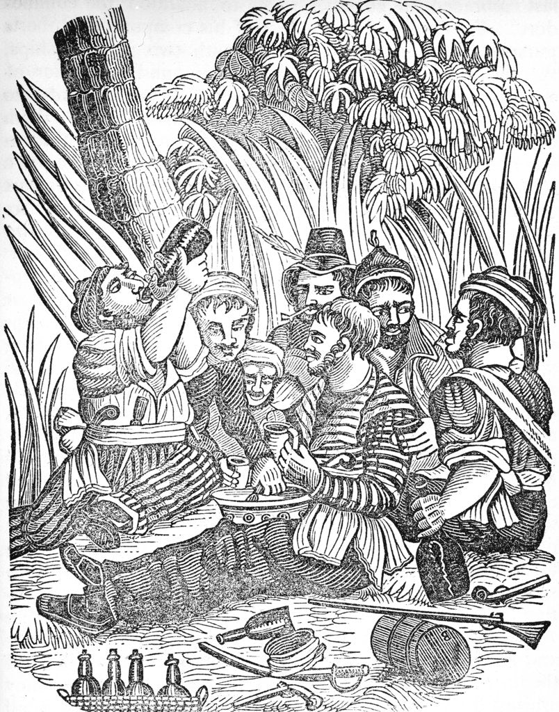 Detail of Bartholomew Roberts (1682-1722) or 'Black Bart''s pirate crew carouses at Old Calabar river in West Africa. by unknown