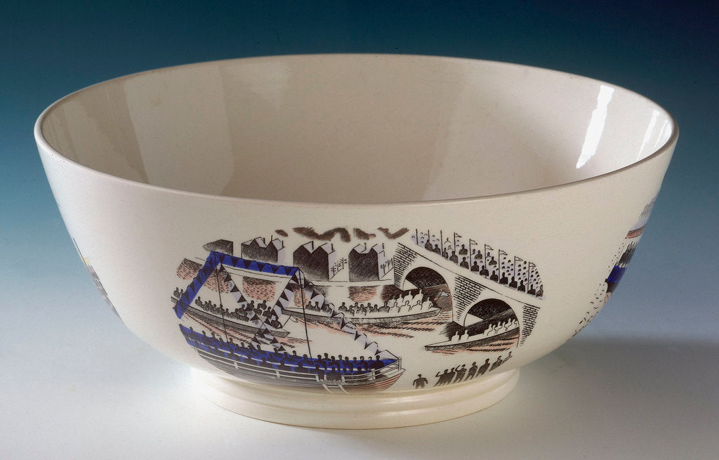 Detail of Queen's ware 'Boat Race Day' bowl designed by Eric Ravilious for Josiah Wedgwood & Sons by Eric Ravilious