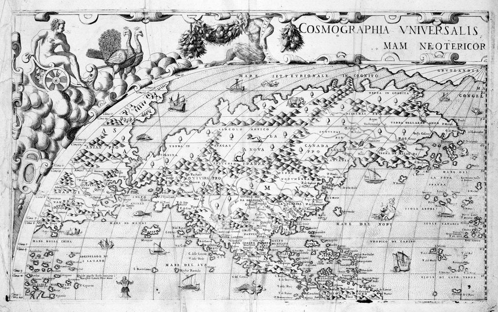 Detail of Section plate from Francesco Camocio's 'Cosmographia Universalis', 1567, taken from the atlas 'Tavole Moderne di Geografia' by unknown