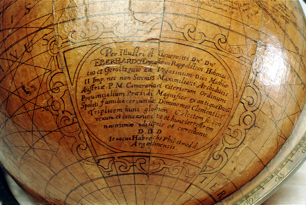 Detail of Dedication in hypothetical southern continent by Isaac Habrecht II