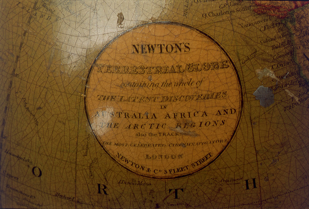 Detail of Cartouche in North Pacific Ocean by Newton & Co.