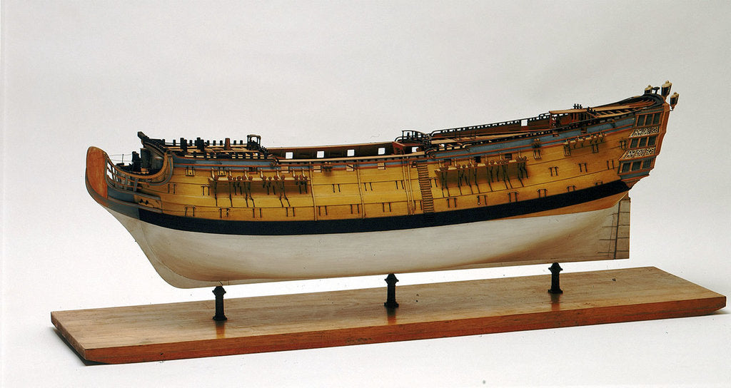Detail of A full hull model of a second rate warship, 90 guns by unknown