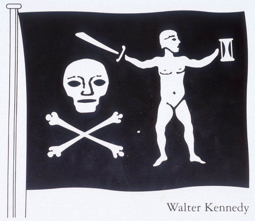 Detail of The Jolly Roger of Walter Kennedy (died 19 July 1721), Irish pirate who served under Howell Davis and Bartholomew Roberts, featuring skull and crossbones, sword and sailor on the flag by unknown