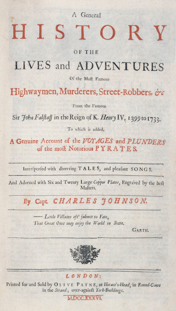 Detail of Frontispiece from 'A General History of the Lives and Adventures of the Most Famous Highwaymen, Murderers, Street Robbers etc.' by unknown