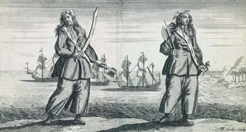 Detail of Female pirates Anne Bonny and Mary Read by B. Cole