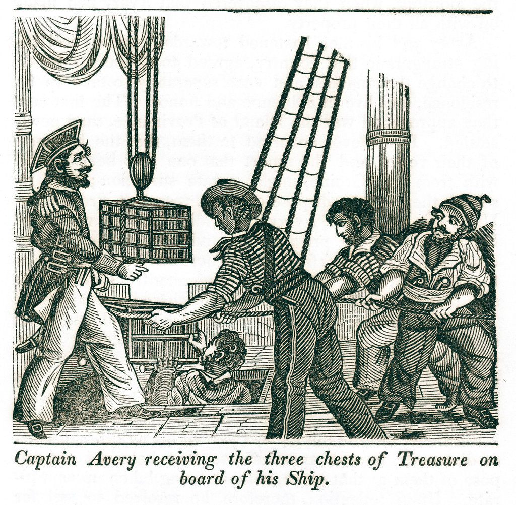 Detail of Captain Henry Avery loads treasure chests onto his ship by unknown