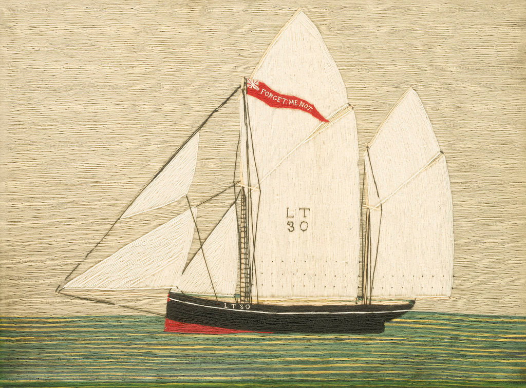 Detail of Woolwork picture of Lowestoft trawler 'Forget-me-not' by Henry Robert Fisher
