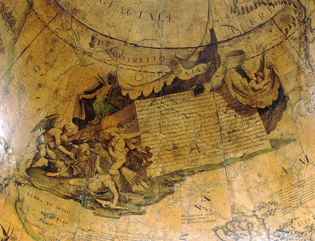 Detail of Cartouche on Strait of Anian, northern hemisphere by Vincenzo Coronelli