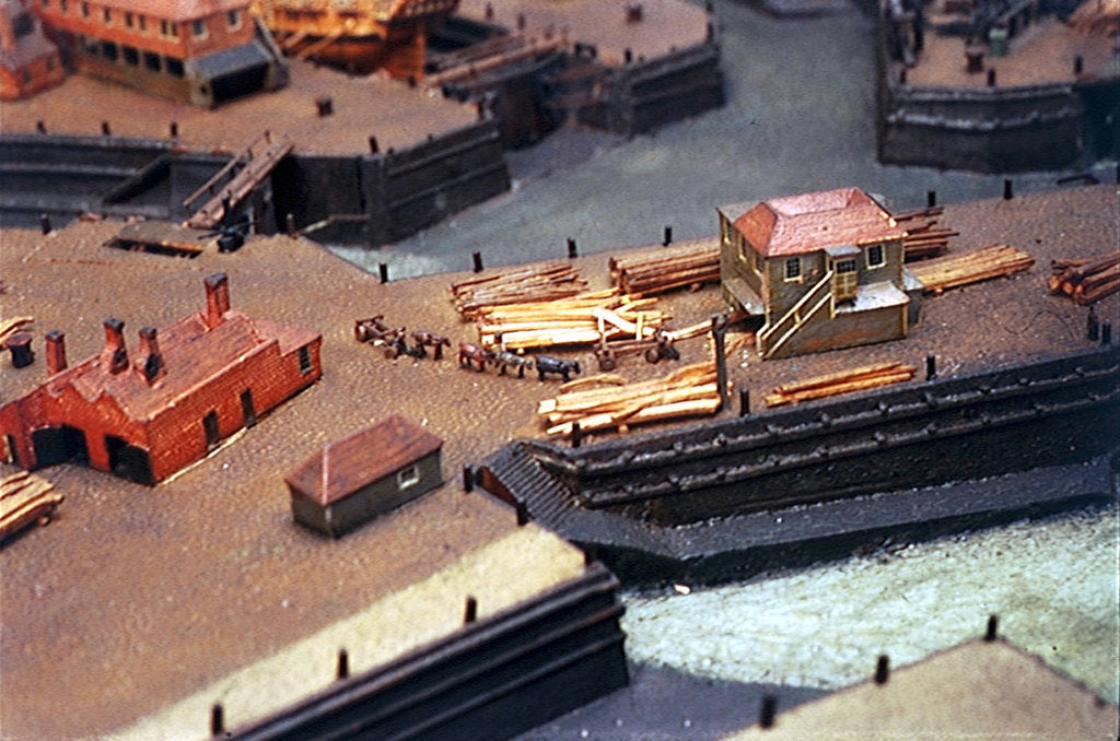 Detail of Topographic model, Royal Dockyards at Sheerness, detail showing log transportation by George Stockwell