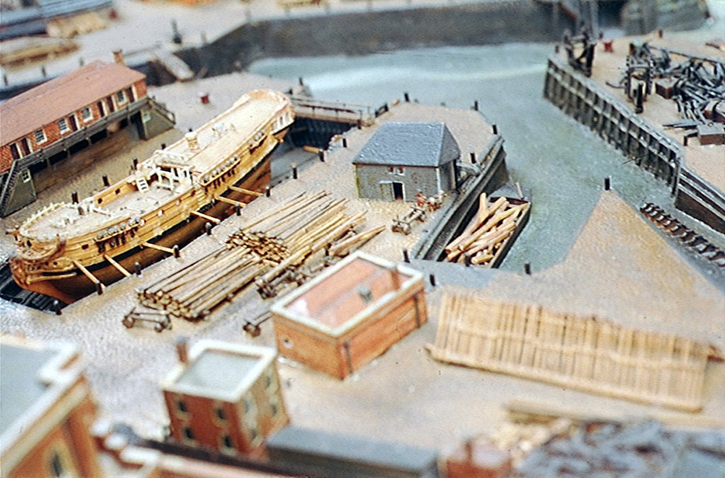 Detail of Topographic model, Royal Dockyards at Sheerness, detail showing HMS 'Squirrel' in dry dock by George Stockwell