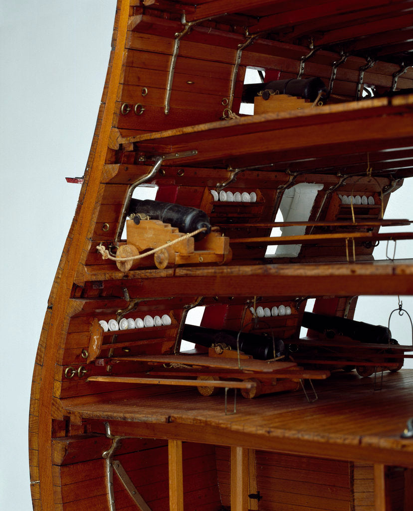 Detail of Midship sectional model of HMS 'Queen' (1839), a 110-gun first rate ship by unknown