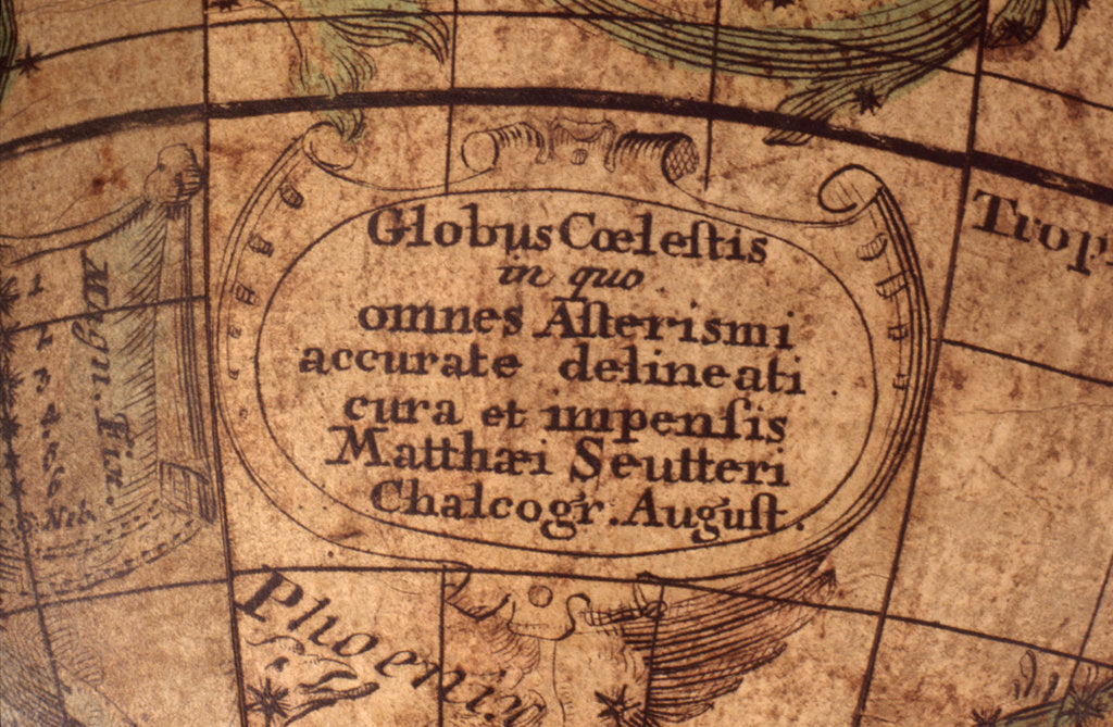 Detail of Cartouche below Cetus by Matthaeus Seutter