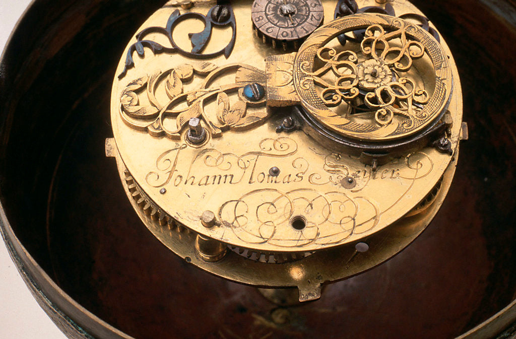 Detail of Watch movement and inscription by Johannes Janssonius