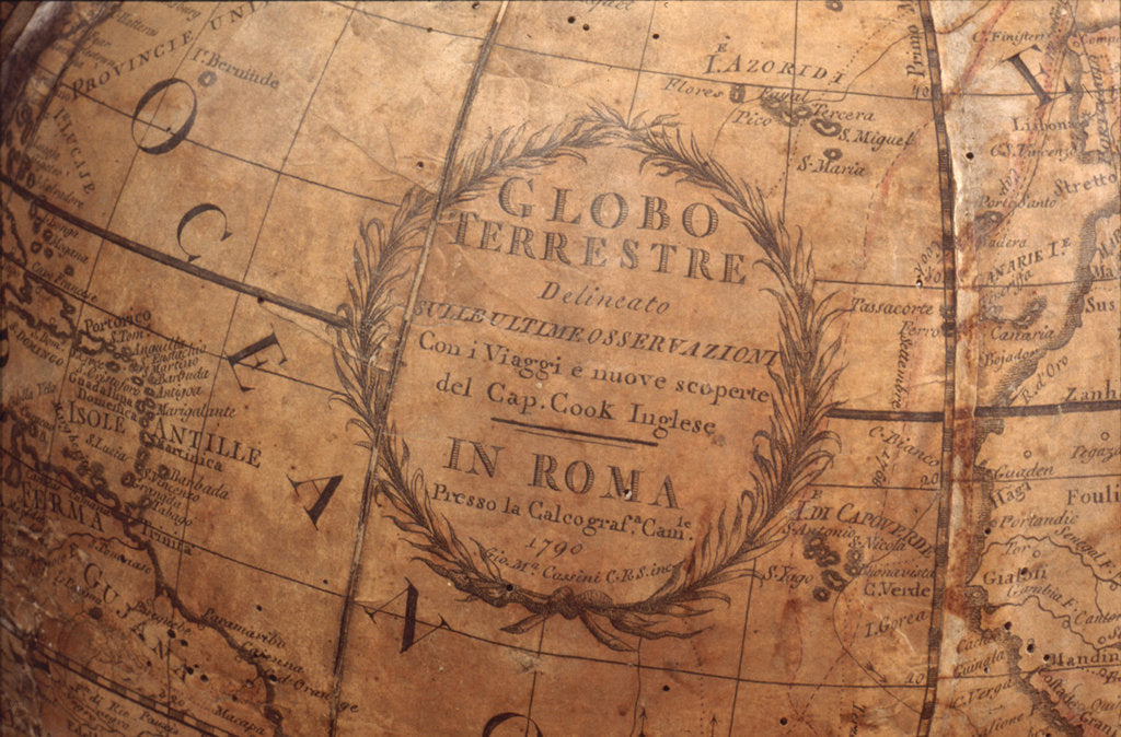 Detail of Cartouche in Atlantic Ocean by Giovanni Maria Cassini