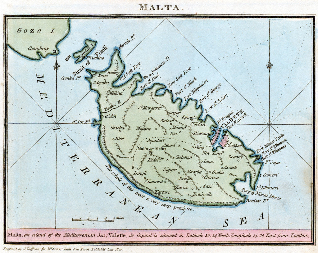 Detail of Chart of Malta by R. Bougard