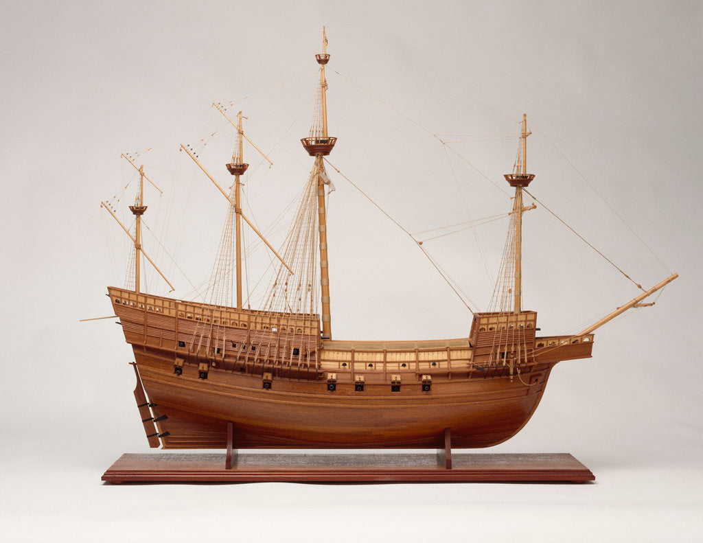 Detail of Full hull model of 'Mary Rose' (1509), a 60-gun sailing warship by Bassett-Lowke Ltd