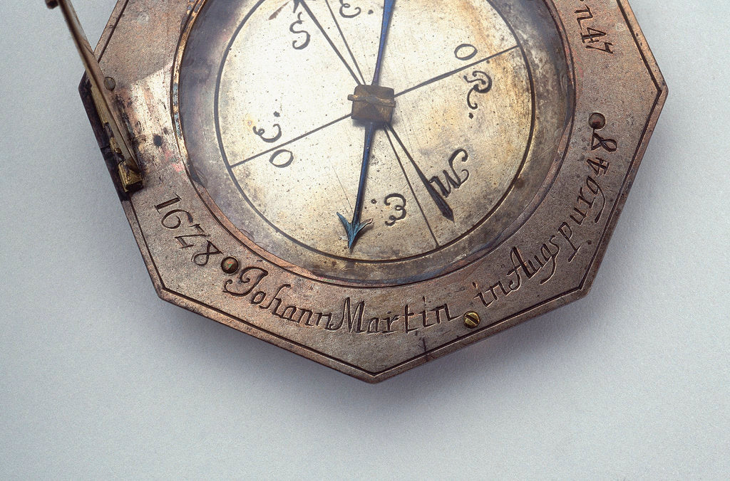 Detail of Augsburg dial, detail of signature by Johann Martin