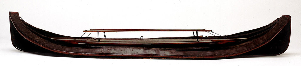 Detail of Full hull model, collapsible lifeboat, broadside, collapsed for stowage by G. L. Berthon