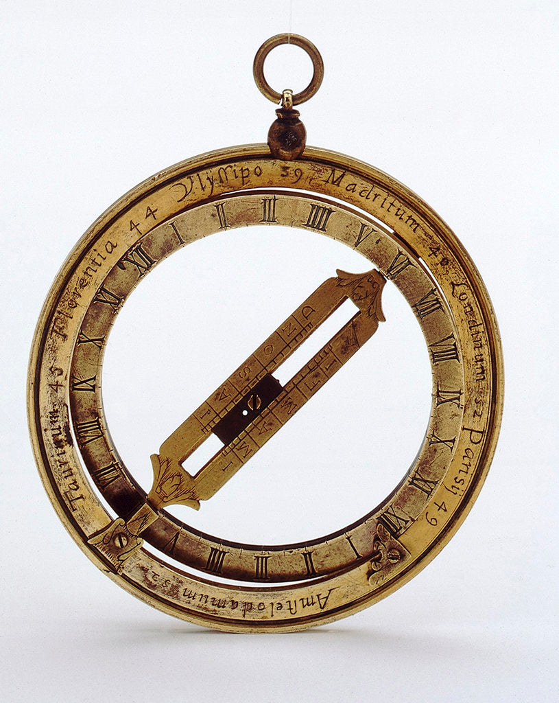 Detail of Universal equinoctial ring dial for latitudes 0˚-90˚ north by unknown