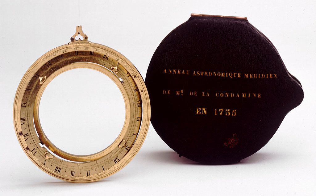 Detail of Universal equinoctial ring dial, with case by Lordelle