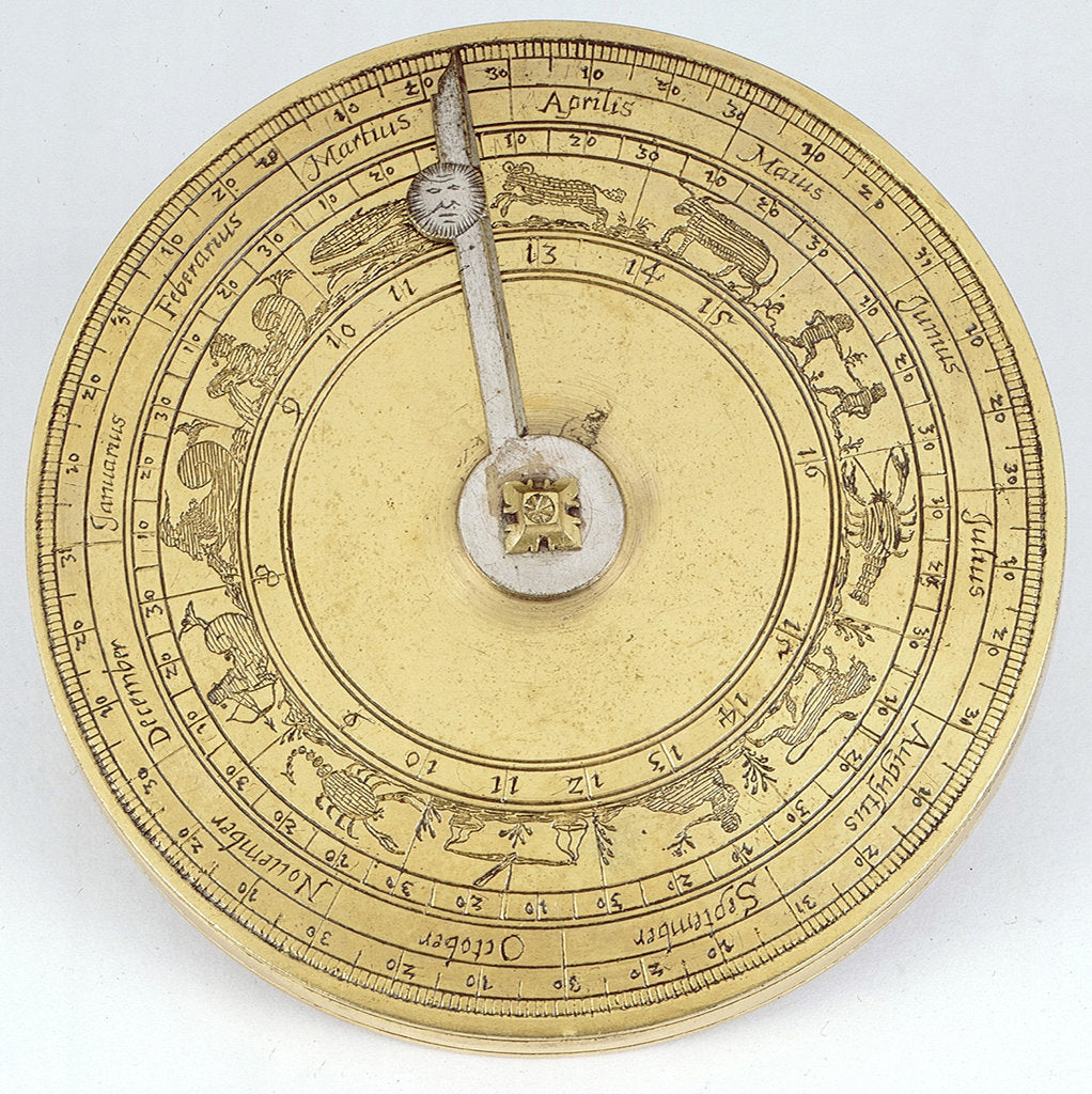 Detail of Magnetic azimuth dial, outer side of lid by Johannes Buschmann