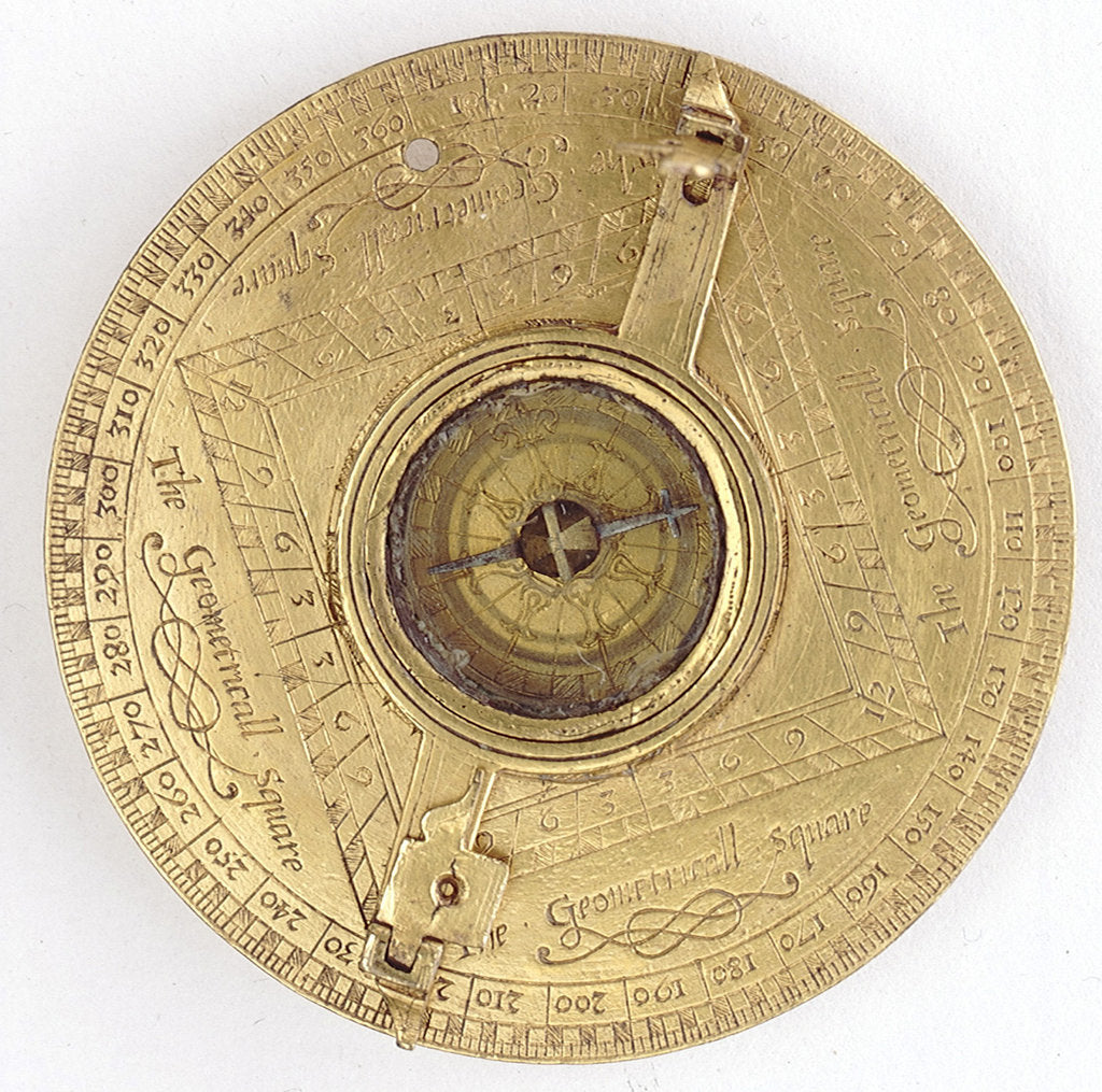Detail of Astronomical compendium, leaf IVa, compass and theodolite by Humphrey Cole
