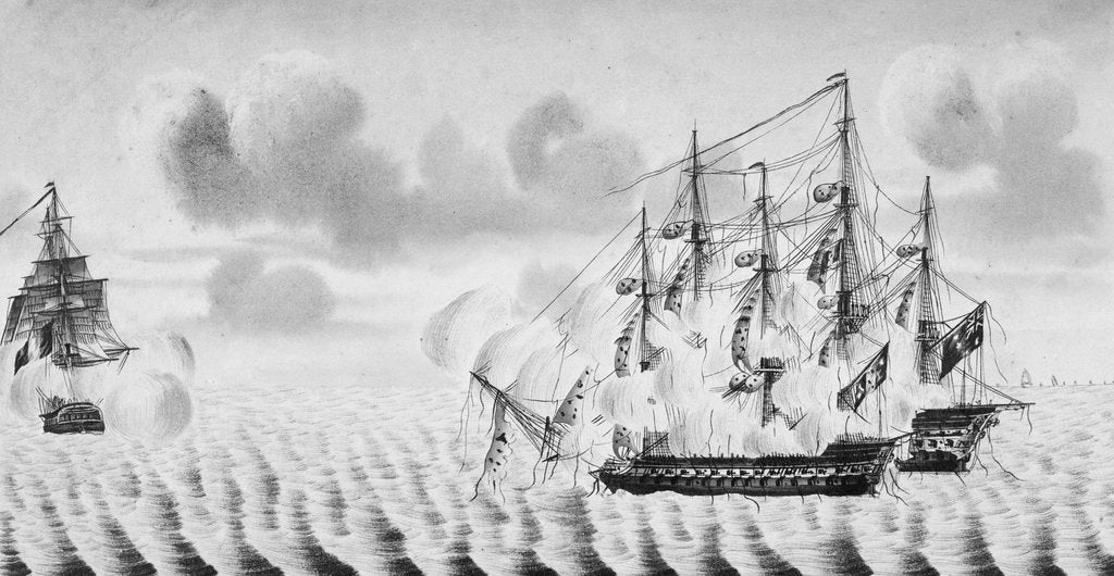 Detail of French vessel 'Le Marengo' engages HMS 'London' (1766) by Duslos Legris