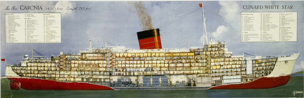 Detail of The New 'Caronia', Cunard White Star Line Poster by unknown