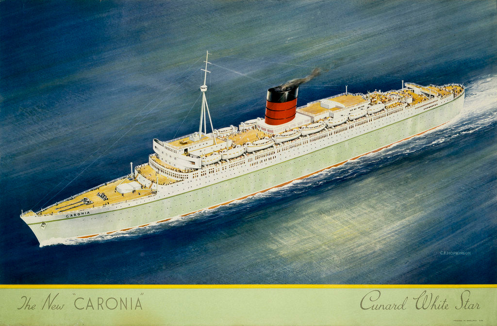 Detail of Cunard White Star Line Poster, the New Caronia by C.F. Hopkinson