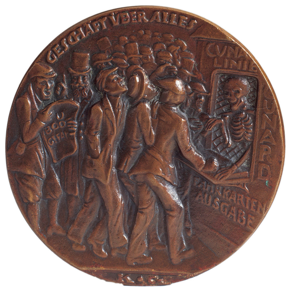 Detail of Medal commemorating the sinking of the SS 'Lusitania', 1915, obverse by Karl Goetz