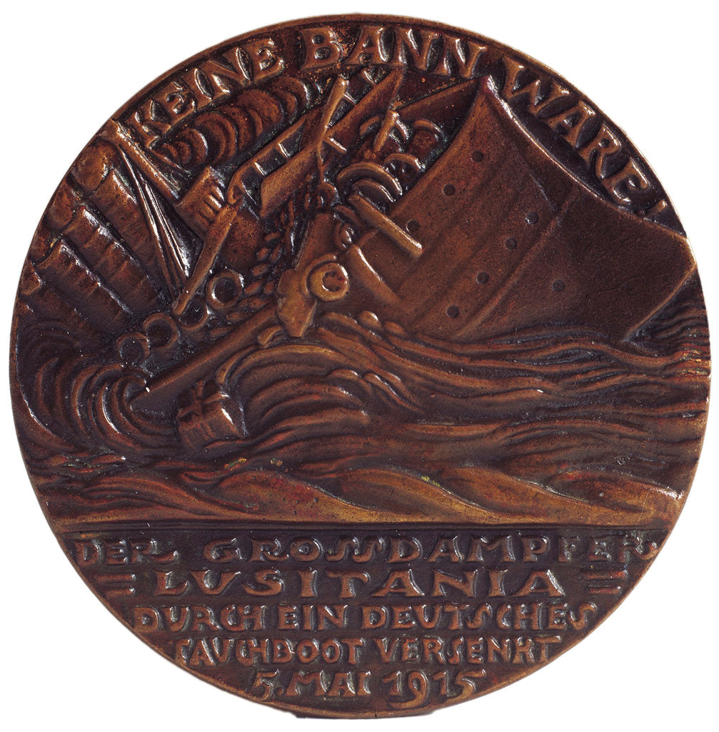 Medal commemorating the sinking of the SS 'Lusitania', 1915, reverse by Karl Goetz