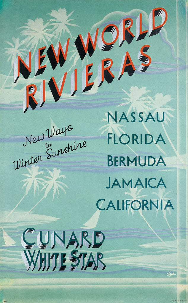 Detail of Cunard White Star Poster, New World Rivieras by unknown
